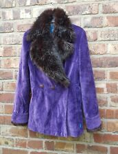 Christian Lacroix purple velvet and fur collared jacket size 8
