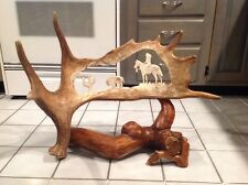 Moose Antler Carving Native American Indian Buffalo Bison Cactus JA 03 Log Stand