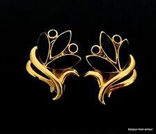 Designer TRIFARI sign. schwarz emaillierte Ohrclips Ohrringe, Orecchini,Earrings