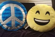 SET 2 EMOJI THROW PILLOWS: TURQUOISE PEACE & TEEN HAPPY SMILEY JUSTICE CUTE GIFT