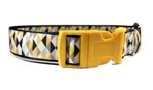 Yellow Grey Geometric Adjustable Handmade Dog Collar For Boy Girl Medium Large
