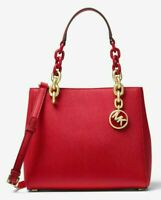 NWT Michael Kors Cynthia Small Saffiano Leather Satchel Bag $278 Bright Red