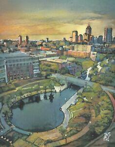 PRINT Indianapolis Skyline and Canals Fine Art Original Painting Indiana Midwest