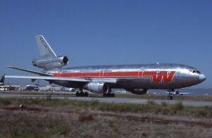 Western Airlines Douglas DC-10 bare metal c/s N902WA - Kodachrome 35mm slide