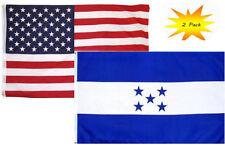 2x3 2'x3' Wholesale Set (2 Pack) USA American & Honduras Country Flag Banner