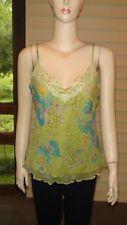 """Per Una"" Lime Green Multi Silk Embellished Cami Top~Size 14 UK (10 US)~NWOT"