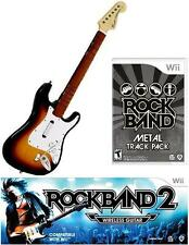 NEW Nintendo Wii Rock Band 2 Wireless Sunburst Guitar & RB Metal Track Pack RARE