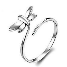 R147 fashion insect dragonfly White Gold Promise Ring Wedding Size Adjustable