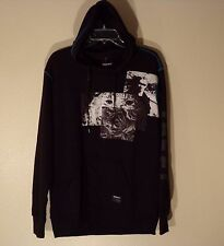 NWT MEN'S LARGE TRUCKFIT BLACK L/S REFLECTOR REAR HOODIE HOODED SWEAT SHIRT #836