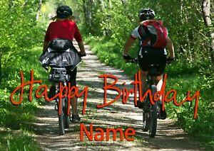 PERSONALISED BIRTHDAY CARD 'MOUNTAIN BIKE' SPORT-FEMALE FRIEND,DAUGHTER,SISTER