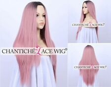 Dark Roots Ombre Pink Wig Long Straight Light Pink Synthetic Wigs For Women 24""