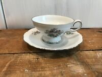 Crown Bavaria Germany China Silver Trim Bouquet Cup Mug & Saucer Set Replacement