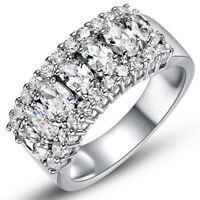 Princess Cut AAA CZ Stainless Steel Fashion Wedding Ring Set Women's Size 6-9