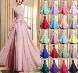 New Chiffon Long Wedding Formal Party Ball Gown Prom Bridesmaid Dress Size 6-28