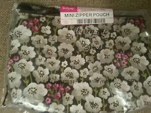 Thirty one MINI ZIPPER POUCH PAINTED FLORAL -New In Package- Retired Pattern