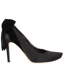 59571 auth RENE CAOVILLA black satin BOW Pumps Shoes 39
