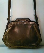Vtg 1800's? Leather Slide Lock Crossbody strap Antique purse pocketbook RARE!