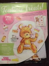 Cookie Bear Tea And Cake Treats Valentines Mothers Day Cross Stitch Card Kit