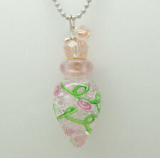 CREMATION JEWELRY PINK GLASS CREMATION URN NECKLACE ROSES MEMORIAL KEEPSAKE URNS