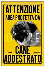 CARLINO PUG AREA PROTETTA TARGA ATTENTI AL CANE CARTELLO PVC GIALLO