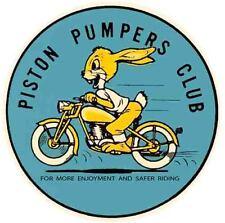 Piston Pumpers Club  Motorcycle  Vintage Looking Travel  Helmet  Sticker Decal