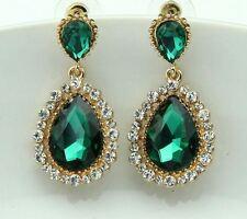 Verde Esmeralda Cristal Facetado Lágrima Con Diamante Estrás Cristal Pendientes
