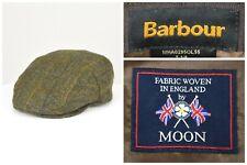 Mens Barbour Moon Tweed Cap Wool Green Flat England Size 7 1/8
