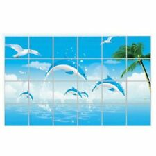 Happy dolphins Kitchen Oil-proof Removable Wall Stickers Decor Home 60/90cm DPM