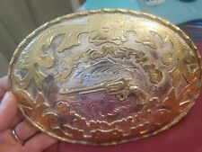 Large Metal Belt Buckle with Gold Filigree and gun design