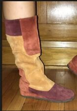 Vintage Famolare Suede Patchwork Gum Sole Boots So 7.5 Handmade In Italy Bibiana