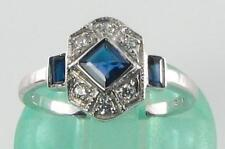 CLASS 9K 9CT WHITE GOLD BLUE SAPPHIRE & DIAMOND ART DECO INS RING FREE RESIZE