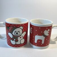 Set Of 2 Vintage WCL Christmas mugs Red and white, teddy bear and reindeer Gift