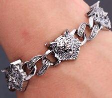 Plata cadena enlace pulsera brazalete de cabeza de lobo Fenrir Lobos Norse Viking F5 Reino Unido