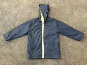 New Boys Girls Hatley Navy & Yellow Raincoat Jacket 6