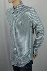 Ralph Lauren Green Cream Striped Slim Fit Stretch Oxford Dress Shirt  NWT