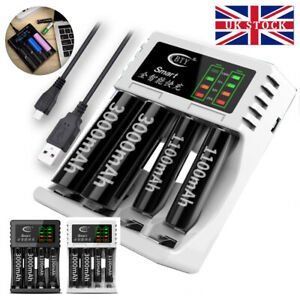 4 Slot Smart Battery Charger for AA/AAA Nimh Rechargeable Batteries