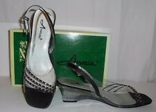 ANNIE BLACK AND RHINESTONE STRAP LADIE'S OPEN-TOE SLING BACK LUCITE HEELS-9.5M
