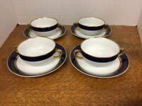 Vintage Cobalt Renaissance Soup/Dessert Bowls & Saucers Fitz & Floyd Set of Four