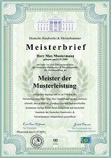 Premium Meisterbrief, DinA3, Urkunde, Zeugnis, personalisiert & fälschungssicher