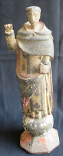 Antique Santos Monk Polychrome Religious Carved Wood Christian Church Sculpture