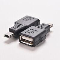 2PCS Black USB 2.0 A Female to Mini USB B 5 Pin Male Adapter Converter Changer''