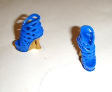 Barbie Size Blue/Gold Heels Shoes For Model Muse Barbie Dolls sh344