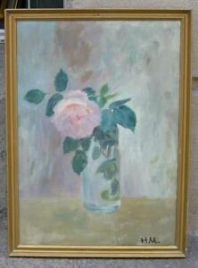 Henrik Madsen (1904) Pink rose in glass vase. 1940s. Salon oil.