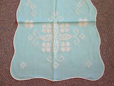 Vintage Table Scarf/Runner Blue Embroidered Cross Stitch Flowers