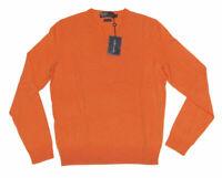 $397 Polo Ralph Lauren Mens Italy Cashmere Orange Slim V Neck Sweater New Size M