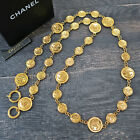 CHANEL Gold Plated CC Logos Coin Vintage Chain Necklace Pendant #7063a Rise-on