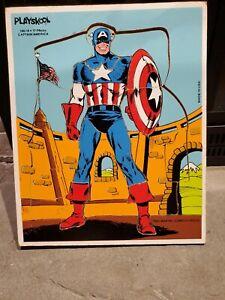Vintage Playskool Captain America Wood Tray Puzzle 1981 Marvel Comics Group