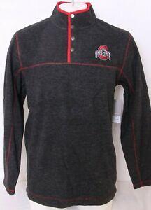 NEW Ohio State Buckeyes Colosseum Gray 1/4 Snap Pullover Sweatshirt Men's L