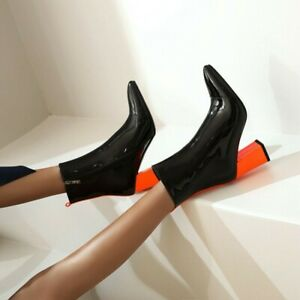 Women Match Color Patent Leather Block High Heel Pointy Toe Ankle Boots