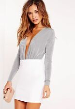Missguided Ladies Plunge Neck Slinky Bodysuit in Grey UK 10